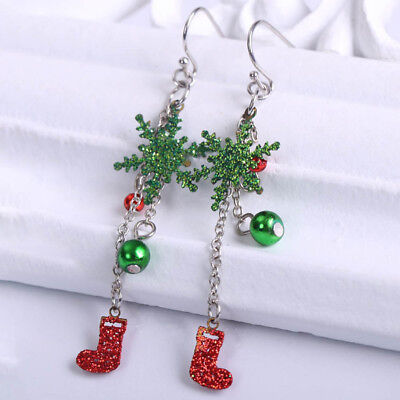 A Pair of Crystal Openwork Snowflake Earrings Christmas Jewelry Exquisite Gifts