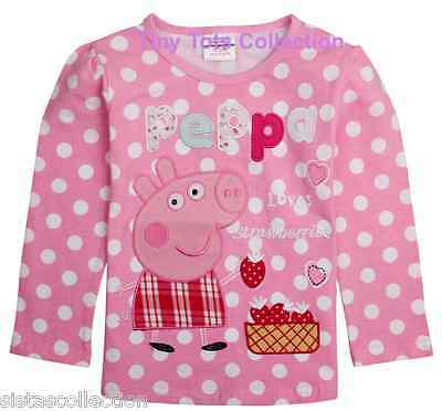 NEW with tags BNWT girls long sleeve top tshirt shirt Peppa pig pink size 5