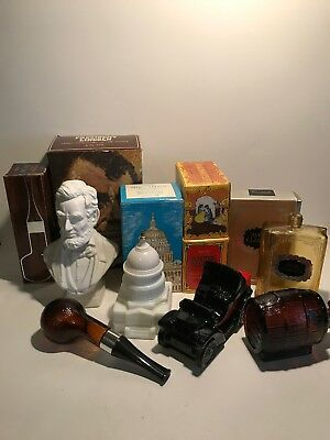 Lot of 6 Vintage Avon Decanters Empty In Boxes Aftershave President Capitol More