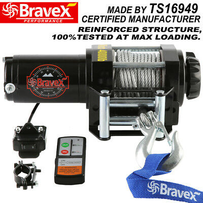 Bravex 12V Wireless 4000Lbs / 1814kgs Electric Winch Synthetic Rope ATV 4WD BOAT