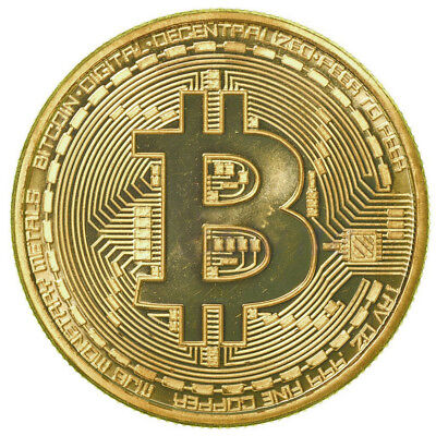 10pcs Gold Plated Bitcoin Coin BTC Coin Commemorative Office Decor Business Gift