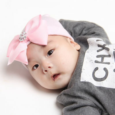 Baby Girl Infant Colorful Striped Soft Hat with Bow Cap Newborn Beanie Cute WE9X