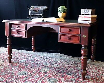 Beautiful Australian Made Solid Timber Leather Top Partner Style Ceo Office Desk
