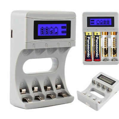 Rechargeable Smart Battery Charger LCD Display 4 Slots for AA/AAA NiCd NiMh WE9X