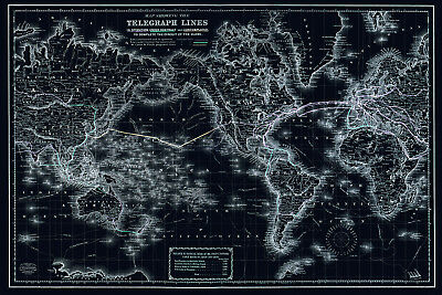Telegraph Lines Map Poster, Old World Map 1800s, Circa 1871, Deep Blue Style