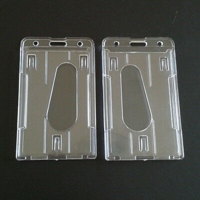 2Pcs Transparent Vertical Hard Plastic ID Badge Holder Double Card Case WE9X