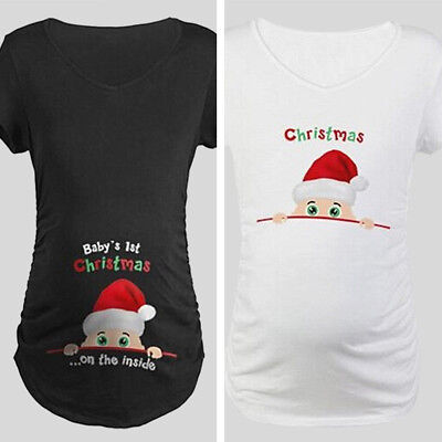 0774f217 Christmas Women Maternity T-shirt Funny Print Baby Peeking Pregnant Tops  Blouse