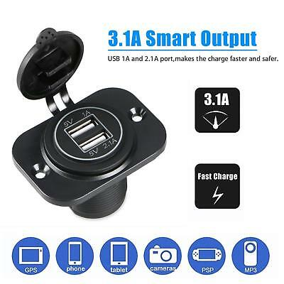 3.1A Dual USB Ports Charger Socket Outlet Waterproof 12V LED for Motorcycle Auto