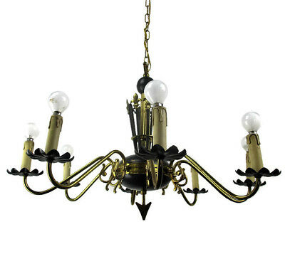 French Wooden Brass 8 Arms Lights Chandelier French Empire Fleur de Lis Rare HTF