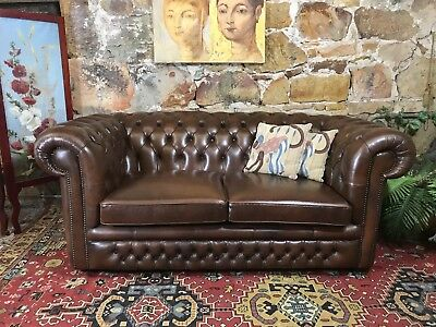 Vintage Chesterfield Leather Gasciogne 2 Seater Lounge Chair~Sofa