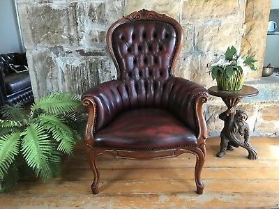 Vintage Leather French Louis Wingback Chesterfield Lounge ArmChair~Chair