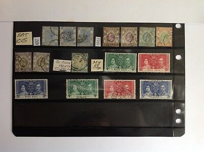 hong kong 1882-37 stock sheet x 16 stamps, mh & used