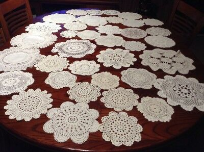 vintage chrochet Doilies Medium, Small Size White In Colour Lot 2