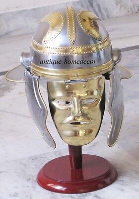 SOLID STEEL BRASS Medieval Armour Greek Knight Helmet With Wooden Stand Best
