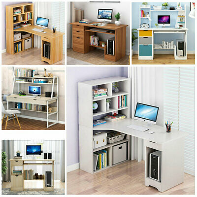 Home Office Desk Computer PC Writing Table WorkStation Wood Bookshelf Furniture