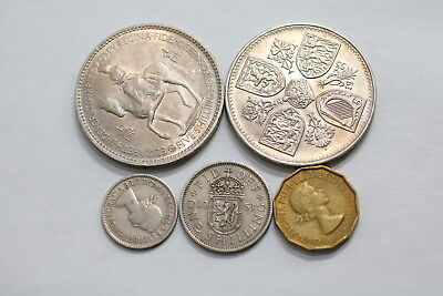 UK GB 5 SHILLINGS 1953 CROWN SIZE x2 + OTHERS A98 XC42
