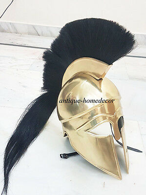 Medieval Knight Greek Corinthian Helmet Brass Antique W/Black Plume Vintage gift