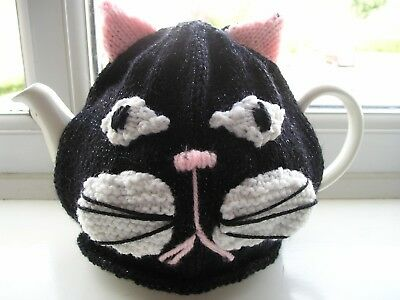 Hand Knitted Tea Cosy Black Cat For Med Pot. New.