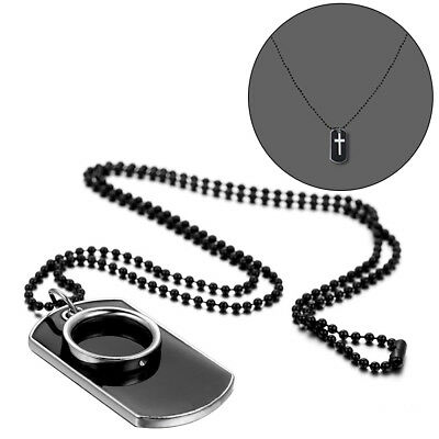 Men's Stainless Steel Black Ring Dog Tag Pendant Necklace With Bead Chain IN USA