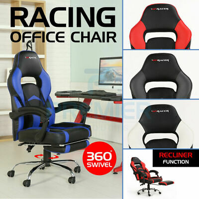 Racing Leather Gpracer Sports Office Chair Reclining Gaming Desk Pc Car Computer