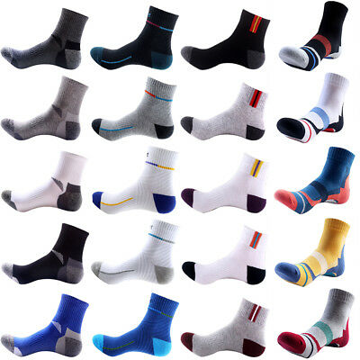 5 Pairs Mens Cotton Crew Socks Lot Sports Casual Ankle Basketball Running Socks