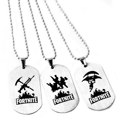 Double Side Fortnite Battle Royale Necklace Pendant Cool KeyChain Key Ring Chain