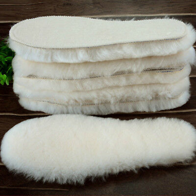 Wool Sheepskin Felt Insoles Winter Thick Fluffy Shoes Boots Insole Warm Unisex