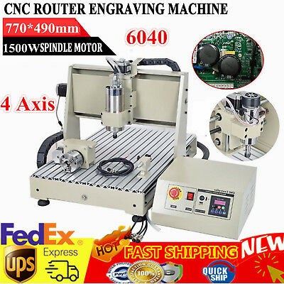 4 Axis Spindle Engraver 1.5KW 3D Cutter 6040 CNC Router Engraving Mill Drilling
