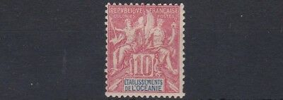 French Colonies French Polynesia 1900 - 07   Sg 15  10C  Rose Red  Mh