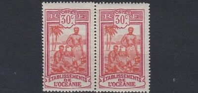 French Colonies French Polynesia 1922 - 30 Sg 52  30C  Red & Carmine Pair    Lmh