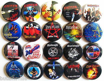 EXCITER HELSTAR DESTRUCTOR ONSLAUGHT HITMAN Button Badges Pins Speed Metal Set 2