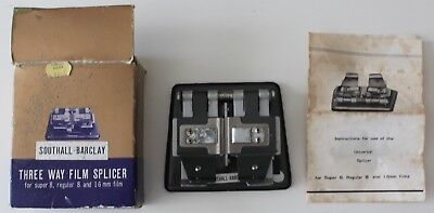 Southall-Barclay Three 3 Way Film Splicer Super Regular 8 16mm Box Instructions