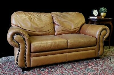 Divine Moran 2+ Seat Chesterfield Cigar Tan Aged Leather Sofa Couch Lounge