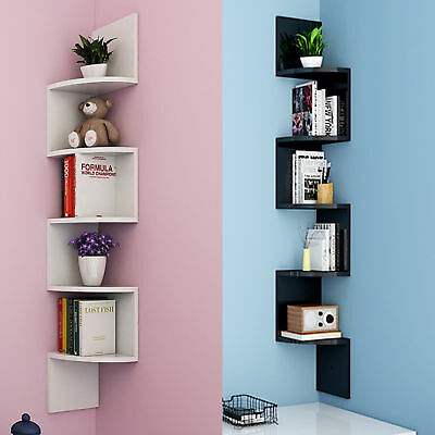 5 Tier Corner Wall Wooden Floating Display Shelf Shelves Storage Rack Ug