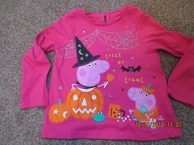 Girls Mothercare Peppa Pig halloween top age 12-18 months