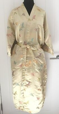 Vintage Ladies Kimono/ Bathrobe Gold / Colourful Batterflies Size XXL Brand New