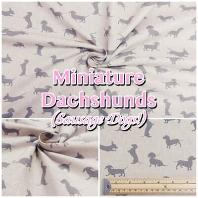Miniature Dachshund Sausage Dog on Cotton-Rich Natural Linen Look Fabric