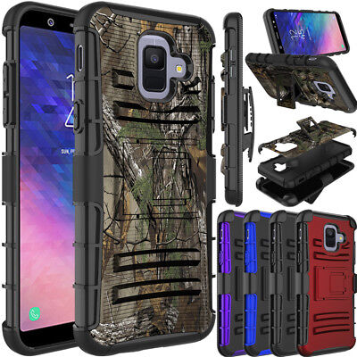 For Samsung Galaxy A6 2018 Phone Case Hybrid TPU Clip Holster Stand Armor Cover