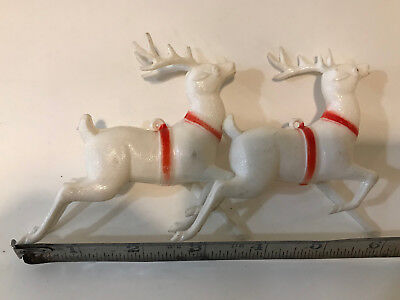 Antique Celluloid Reindeer Pair--One Has One Missing Antler