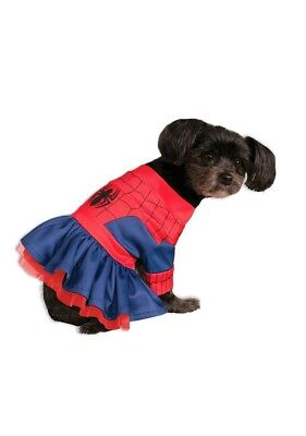 "Marvel Spidergirl Fancy Dress Costume Outfit Dog Spiderman Med 15"" Neck To Tail"