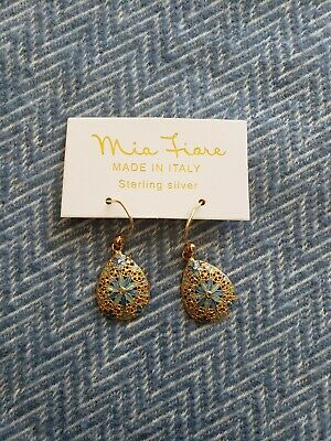 Mia Fiore 925 Sterling Earrings Blue Hand Painted Enamel Made In Italy NIB