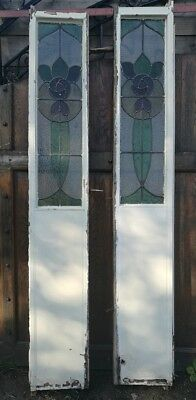Set Of 2 Reclaimed Tall Stained Glass Side Panels Window Leaded Wooden Door #W25