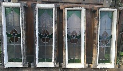 Joblot 4 Vintage Stained Glass Leaded Windows Reclaimed Wooden Tulip Detail #W26