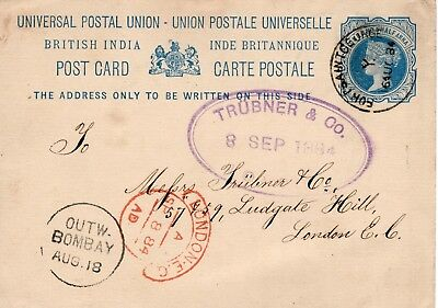 India 1884  QV 1½a postal card commercial used to UK