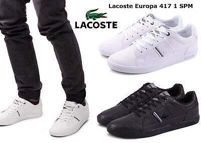 0a0b6dc67 LACOSTE MEN SHOES Europa 417 1 SPM White Leather Casual Sneakers NEW ...