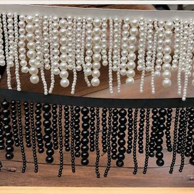 1 Yard Pearl beaded lace trim Clothes Dress Curtain Decoration