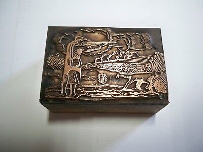 Letterpress Printing Block - Antique Copper - Hunter with dog