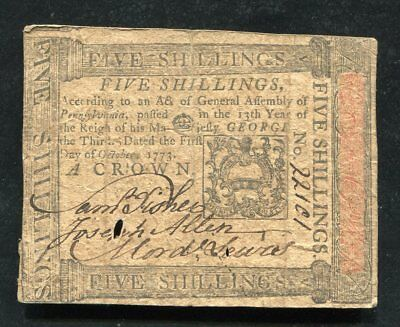 PA-166 OCTOBER 1, 1773 5s FIVE SHILLINGS PENNSYLVANIA COLONIAL CURRENCY NOTE (B)