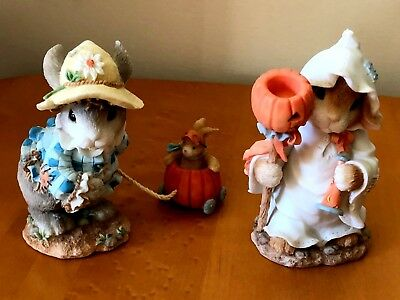 "My Blushing Bunnies~Set Of 2~Halloween Figurines~""you Cast A Spell On Me""~Euc"