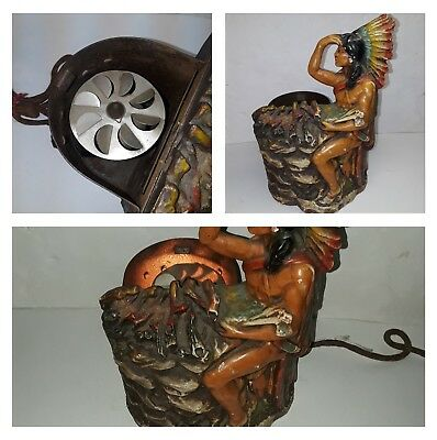 1920's GRITT ANTIQUE CHALKWARE INDIAN WARRIOR MOTION LAMP EXCELLENT CONDITION
